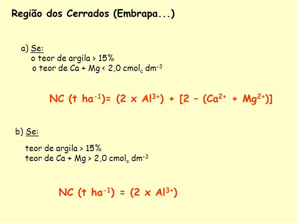 NC (t ha-1)= (2 x Al3+) + [2 – (Ca2+ + Mg2+)]